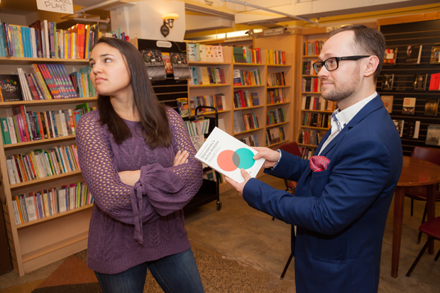 """Zach offers Hayley a book about Russian director Konstantin Stanislavski and his method of """"active analysis,"""" which encourages improvisation."""