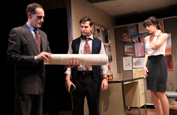 Rodriguez shares a scene with Damian Young and Skylar Astin in What We're Up Against, opening November 8.