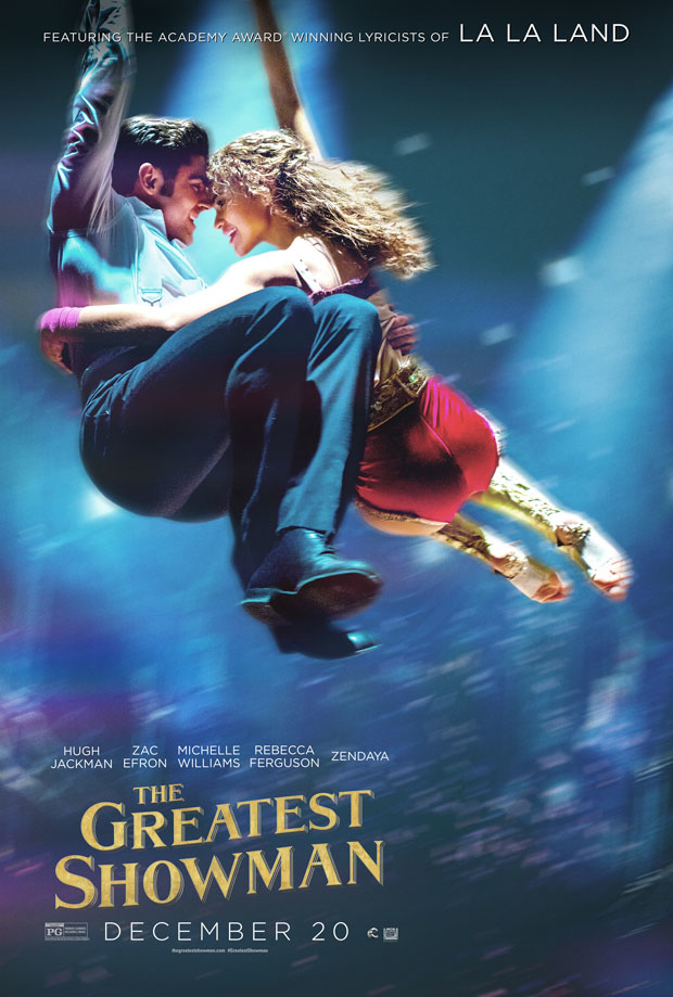 Zac Efron holds  Zendaya close in this high flying poster for The Greatest Showman.