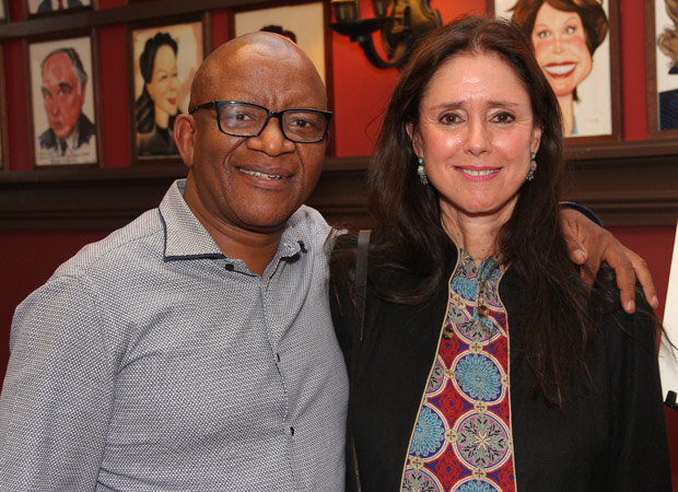 Lebo M with The Lion King director Julie Taymor in advance of the musical's 20th Broadway anniversary.