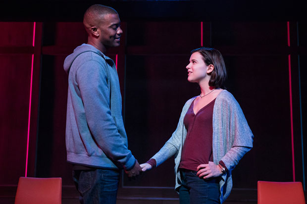 Joshua Boone and Alexandra Socha star in Actually, directed by Lileana Blain-Cruz, at New York City Center.
