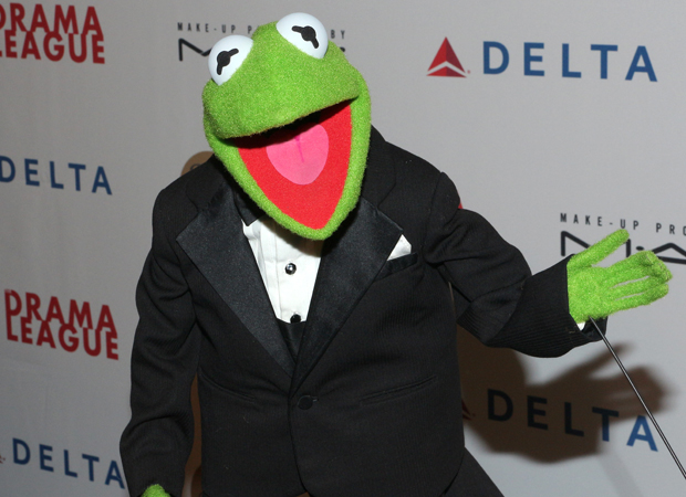 Kermit the Frog walks the red carpet at the Drama League Gala.