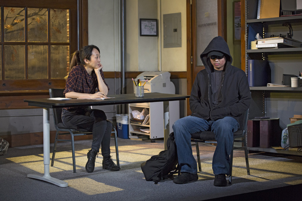 Sue Jean Kim and Ki Hong Lee star in Julio Cho's Office Hour, directed by Neel Keller, at the Public Theater.