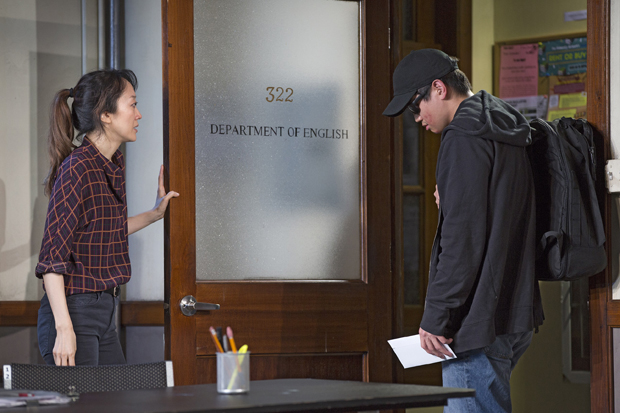 Sue Jean Kim plays Gina, and Ki Hong Lee plays Dennis in Office Hour.