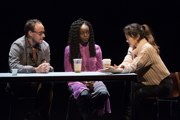 Greg Keller plays David, Adeola Role plays Genevieve, and Sue Jean Kim plays Gina in Office Hour.