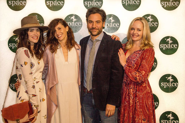 Abigail Spencer, Michaela Watkins, Josh Radnor, and Marley Shelton stop for a photo.