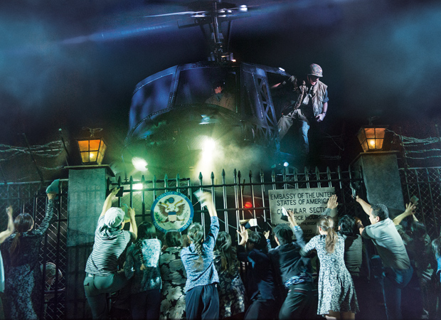 The fall of Saigon, as depicted in the 2017 Broadway revival of Miss Saigon.