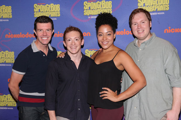 The cast — including (from left to right) Gavin Lee, Ethan Slater, Lilli Cooper, and Danny Skinner — and creative team of SpongeBob SquarePants will participate in a panel at BroadwayCon in January.