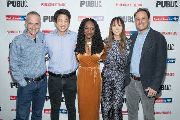Director Neel Keller and Office Hour company members Ki Hong lee, Adeola Role, Sue Jean Kim, and Greg Keller celebrate opening night at the Public Theater.