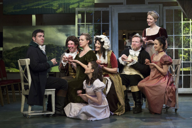 Jason O'Connell (left) and Kate Hamill (right) in the Bedlam production of Sense & Sensibility.