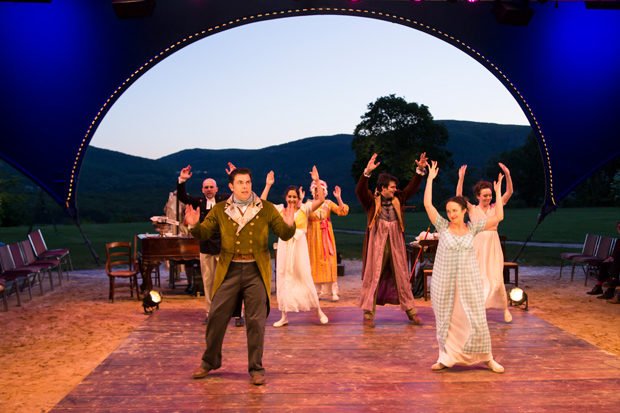 Jason O'Connell and Kate Hamill in the Hudson Valley Shakespeare Festival production of Pride and Prejudice.