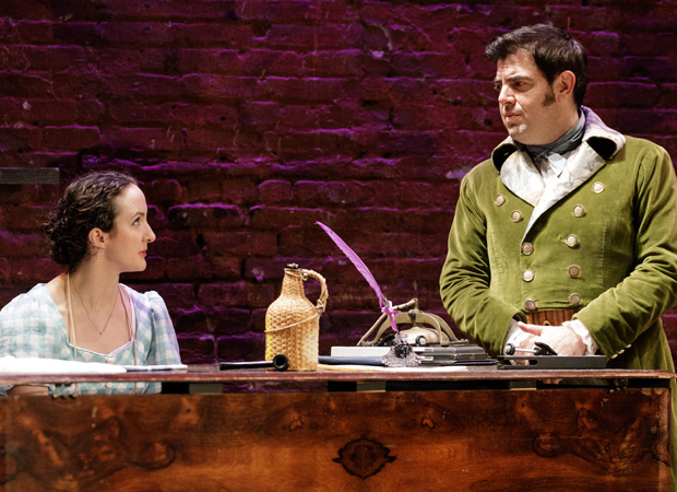 Kate Hamill and Jason O'Connell in the Primary Stages production of Pride and Prejudice.
