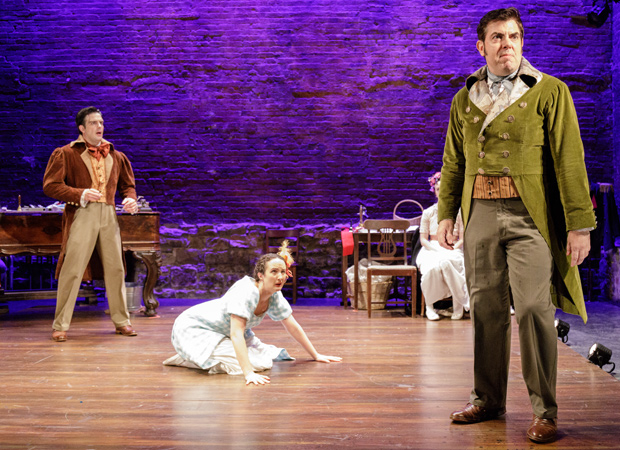 John Tufts, Kate Hamill, and Jason O'Connell in Pride and Prejudice.