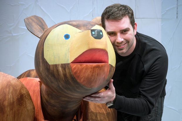 Jonathan Rockefeller with one of the dozens of puppets created for The Very Hungry Caterpillar Show.