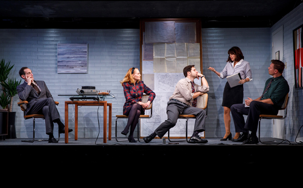 From left to right: Damian Young, Marg Helgenberger, Skylar Astin, Krysta Rodriguez, and Jim Parrack in What We're Up Against, which will now run through December 3.