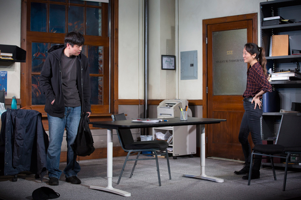Ki Hong Lee (left) and Sue Jean Kim (right) in Julia Cho's Office Hour.