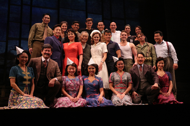 The 2015 Broadway cast of Allegiance. George Takei will also be the star of the upcoming Los Angeles premiere of the musical.