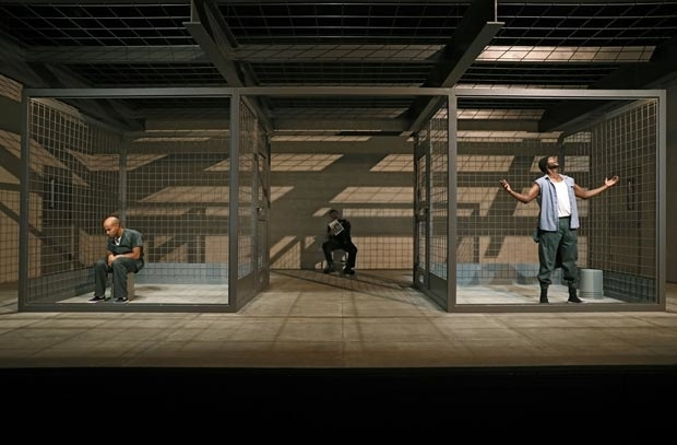 Sean Carvajal, Ricardo Chavira, and Edi Gathegi in a scene from Jesus Hopped the 'A' Train, directed by Mark Brokaw, at Signature Theatre.