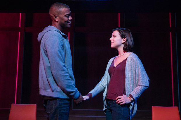 Joshua Boone and Alexandra Socha star in Anna Ziegler's Actually, directed by Lileana Blain-Cruz, for Manhattan Theater Club at New York City Center.