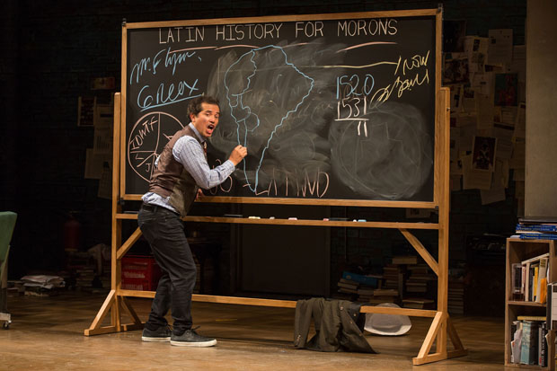 John Leguizamo draws a map of the Inca Empire in Latin History for Morons at Studio 54.
