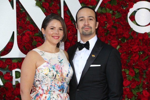 Lin-Manuel Miranda (right, with his wife, Vanessa Nadal) announced a contest to win tickets to see Hamilton in London on opening night, December 21.