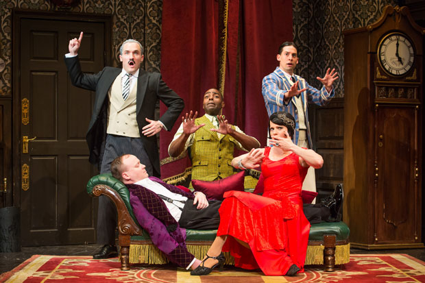 Harrison Unger, Jonathan Fielding, Clifton Duncan, Amelia McClain, and Alex Mandell in The Play That Goes Wrong, which announced a North American tour for the 2018-19 season.