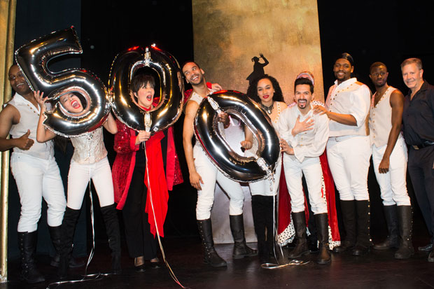 The company of Spamilton, written and directed by Gerard Alessandrini, celebrate 500 performances.