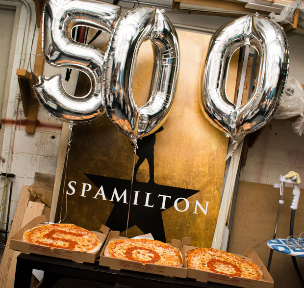 Spamilton celebrated the milestone with a pizza party.