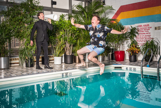 Michael Urie and Drew Droege pose in a new promotional image for Bright Colors And Bold Patterns.
