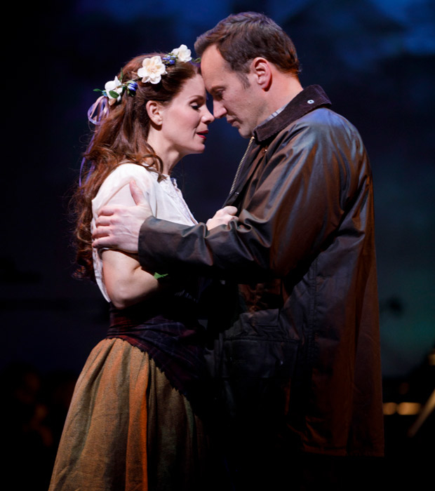 Kelli O'Hara and Patrick Wilson as Fiona and Tommy in Brigadoon at New York City Center.