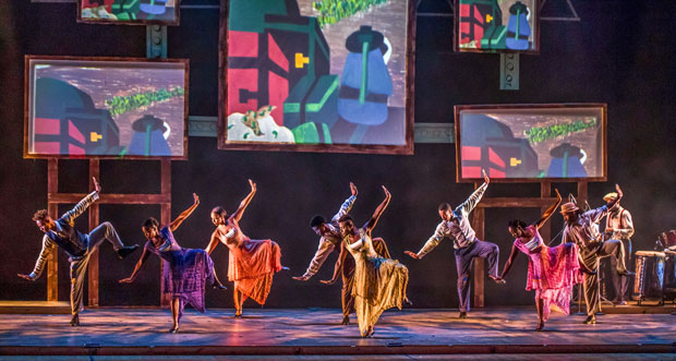 The company of Step Afrika! in The Migration: Reflections on Jacob Lawrence at the New Victory Theater.