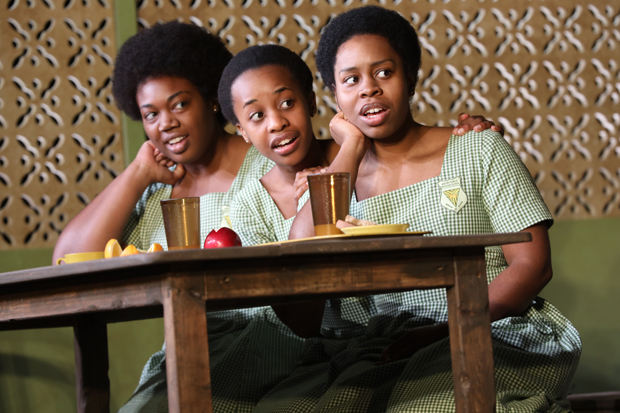 Abena Mensah-Bonsu, Mirirai Sithole, and Paige Gilbert appear in Jocelyn Bioh's School Girls; or, The African Mean Girls Play at the Lucille Lortel Theatre.