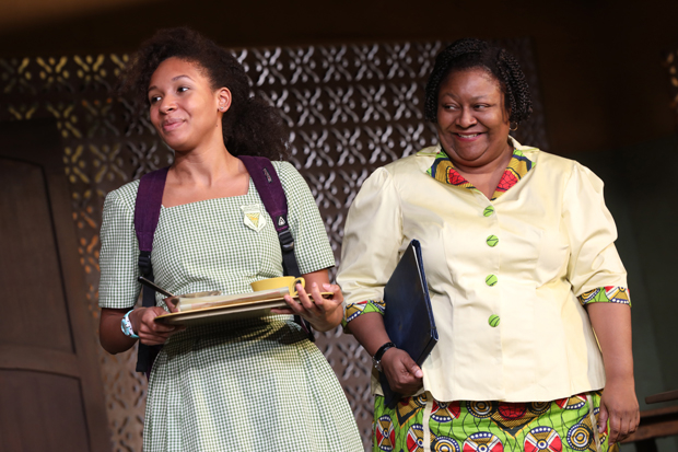 Nabiyah Be plays Ericka, and Myra Lucretia Taylor plays Headmistress Francis in School Girls; or, The African Mean Girls Play.