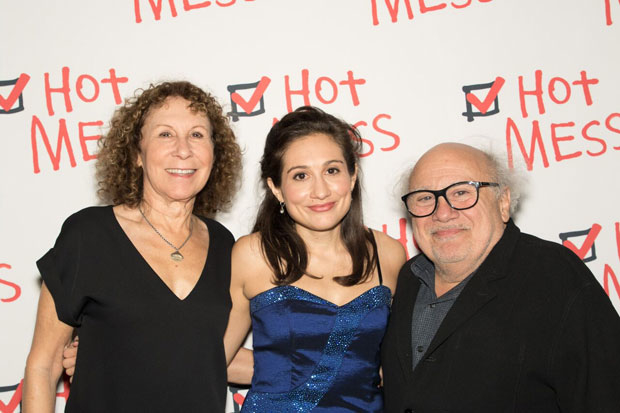 "'""Hot Mess'' star Lucy DeVito is congratulated by her parents, Rhea Perlman and Danny DeVito."