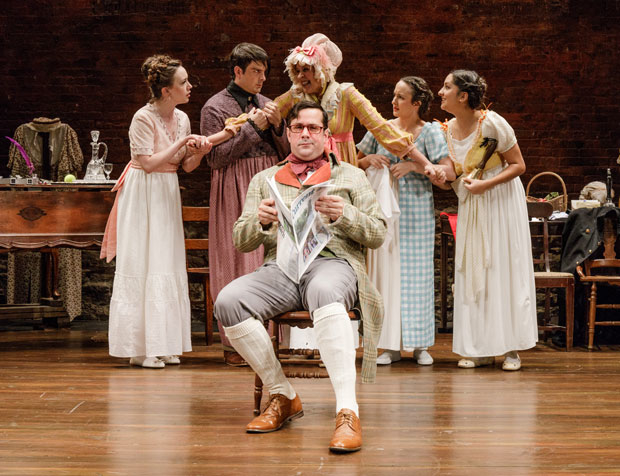 Chris Thorn (foreground), Amelia Pedlow, John Tufts, Nance Williamson, Kate Hamill, and Kimberly Chatterjee play the Bennet Family in Pride and Prejudice, directed by Amanda Dehnert, at the Cherry Lane Theatre.