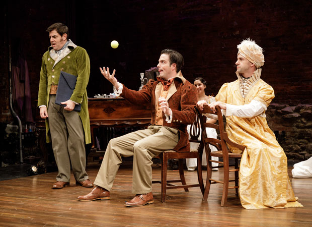 Jason O'Connell as Mr. Darcy, John Tufts as Mr. Bingley, and Mark Bedard as Ms. Bingley in Pride and Prejudice at the Cherry Lane Theatre.