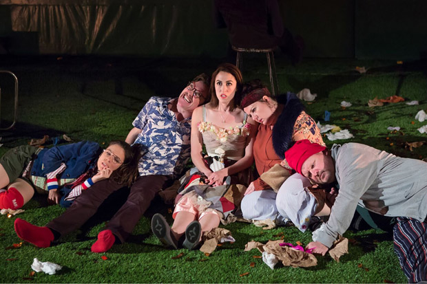 Susanna Millonzi, Eric Tucker, Kelley Curran, Zuzanna Szadkowski, and Edmund Lewis star in Bedlam's Peter Pan, directed by Eric Tucker, at the Duke on 42nd Street.