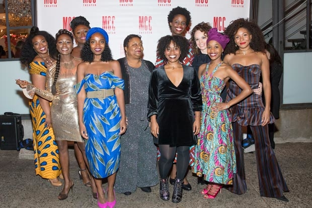The company of School Girls; or, The African Mean Girls Play celebrates opening night at the Lucille Lortel Theatre.
