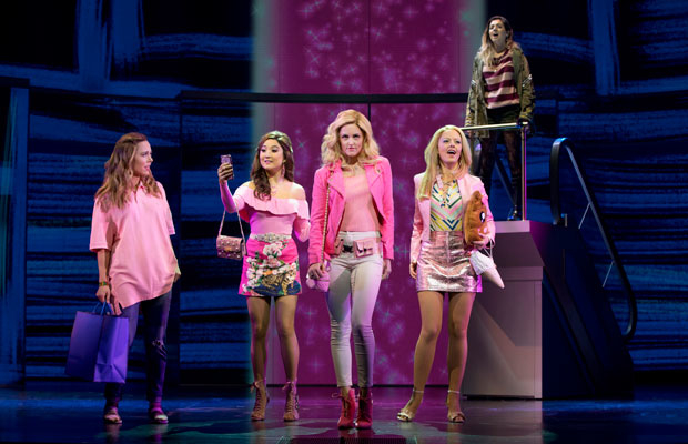 Erika Henningsen, Ashley Park, Taylor Louderman, Kate Rockwell, and Barrett Wilbert Weed star in Mean Girls, directed by Casey Nicholaw, at the National Theatre.