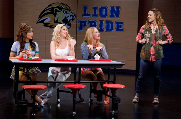 Ashley Park, Taylor Louderman, Kate Rockwell, and Erika Henningsen share a scene in the lunchroom.