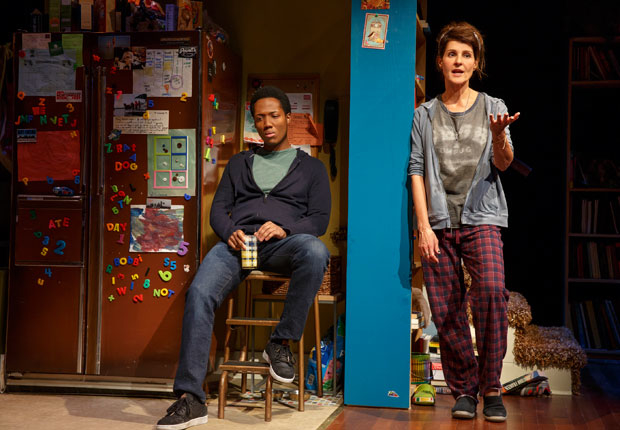 Nia Vardalos (right) offers advice to Hubert Point-Du Jour in a scene from Tiny Beautiful Things.