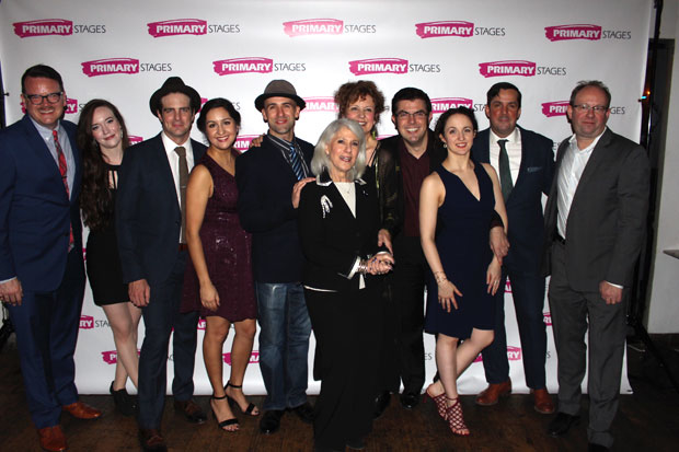 The company of Pride and Prejudice celebrate opening night at the Cherry Lane Theatre.