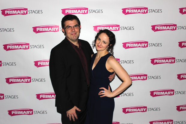 Jason O'Connell and Kate Hamill, both starring in Pride and Prejudice, grab a photo on opening night.