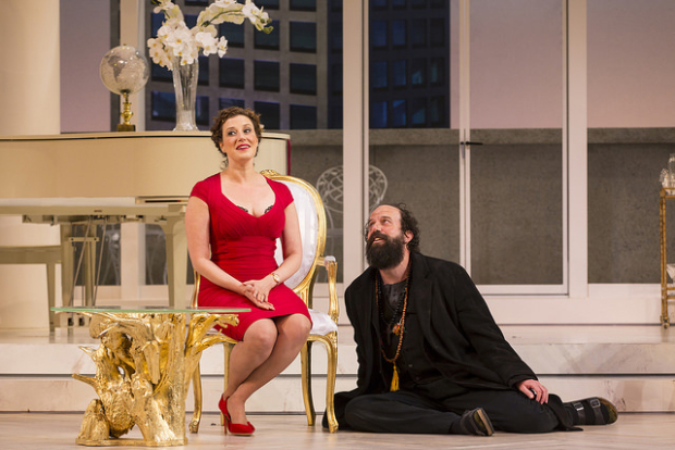 Melissa Miller and Brett Gelman in the Huntington Theatre Company's production of Tartuffe, directed by Peter DuBois.