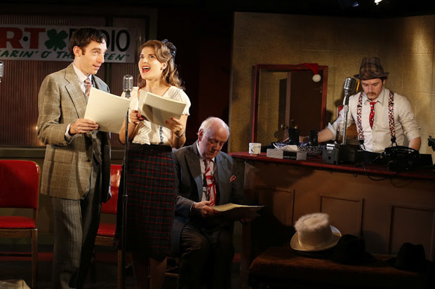 Max Gordon Moore, Katie Fabel, Peter Maloney, and Rory Duffy starred in a previous production of  It's a Wonderful Life: The 1946 Live Radio Play at the Irish Rep.