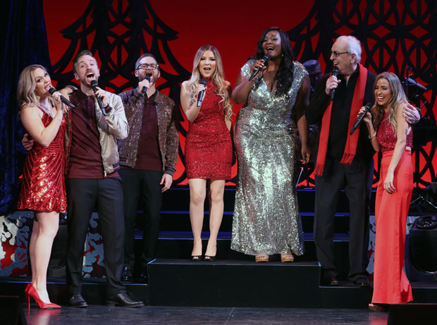 Evynne Hollens, Peter Hollens, Josh Kaufman, Bianca Ryan, Candice Glover, Danny Aiello and Kaitlyn Bristowe perform in Home for the Holidays at the August Wilson Theatre.