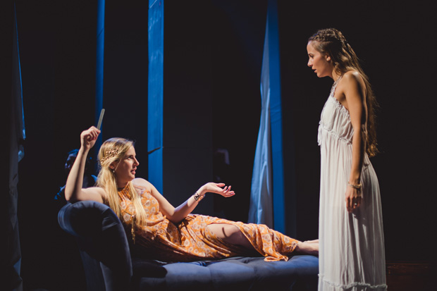 L-R: Sarah Wadsley and Jenna Zafiropoulos in THE BRIEFLY DEAD at 59E59 Theaters.