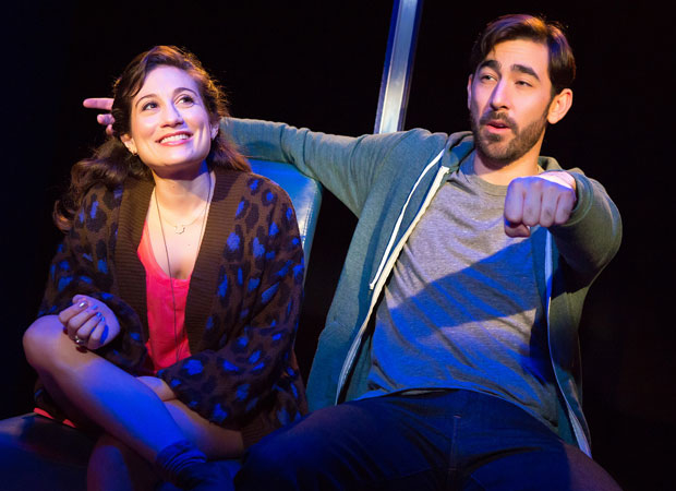 A scene from Hot Mess, featuring Lucy DeVito and Max Crumm.