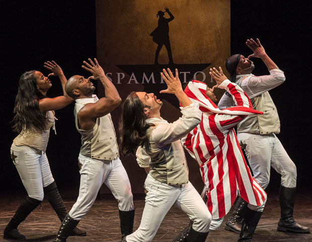 Zakiya Young, Wilkie Ferguson III, William Cooper Howell, John Devereaux, and Dedrick A. Bonner in the West Coast premiere of Spamilton, directed by Gerard Alessandrini at Center Theatre Group's Kirk Douglas Theatre.