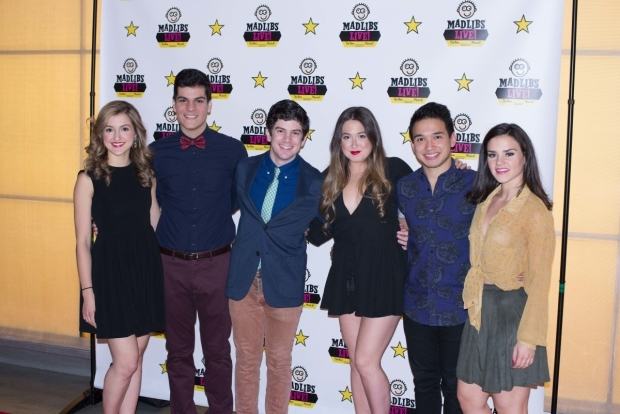 Cast members Lindsey Brett Carothers, Jeanfranco Cardenty, Max Joseph, Melody Madarasz, Zach Piser, and Santina Umbach at the opening of Mad Libs Live!
